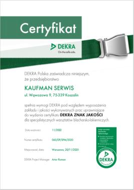 Certyfikat Dekra 2022